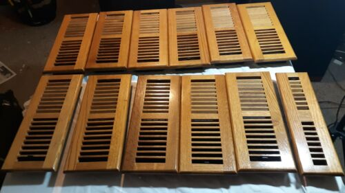 """Set of  Twelve Finished Oak Registers (eleven 4"""" x 12"""" and one  2 1/2"""" x 12"""" )"""