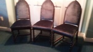 3 Antique Chairs - blue upholstery