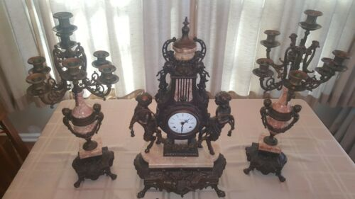Brevettato Mantle Clock & Candelabra Brass And Pink Marble Set