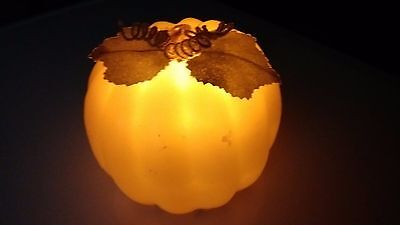 Fall Pumpkin with Leaves 8 Hour Timer, Shell is Made of Wax - Pumpkin With Leaves