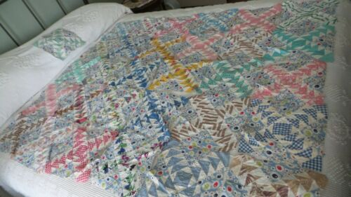 "31 Antique QUILT SQUARES, BLOCKS Flying Geese, 9-1/2"", Multi-Color, Blue Floral"