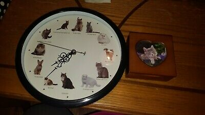 Collectible Cat Kitty Clock and Wooden Jewelry Box Vintage Decor Pure Breeds