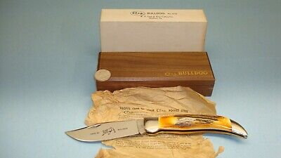 1965 - 1969 CASE XX USA 5172 STAG HANDLE BULLDOG CLASP FOLDING KNIFE W/ WOOD BOX
