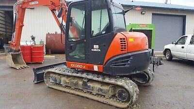 KUBOTA 2017 Excavator KX080-4SR3A. 100 hrs, Cab, Heat, AC, 24in Bucket