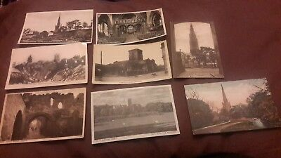 8 x Old postcards of Leicestershire - St Mary's Church Bottesford, Woodhouse Eav