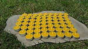 60 Hand Poured Beeswax Tealight Candles, All-natural Cotton Wick, Aluminum Cups