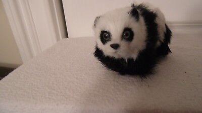 PANDA BEAR CHRISTMAS ORNAMENT HAS FAKE HAIR, HE CAN STAND ALONG,  4 1/2