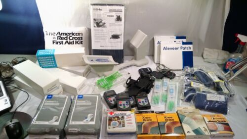Medical supply lot wheelchair footrest braces bladder pads swabs splints patches