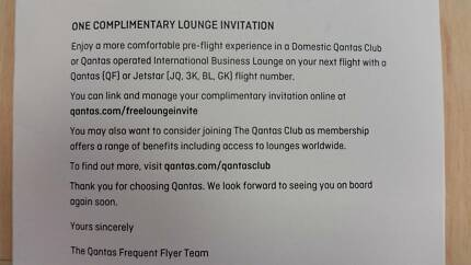 Qantas Lounge Invitation