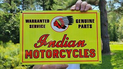 VINTAGE INDIAN MOTORCYCLES PORCELAIN METAL METAL GAS STATION MOTORCYCLE SIGN