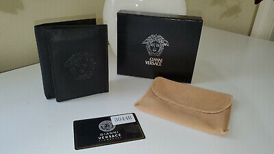 NWB $268 Gianni Versace Wallet Trifold Black Leather Monogrammed Medusa in Box
