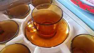 Brown glass teacup and saucer set of six Kingswood Penrith Area Preview