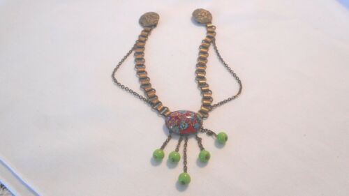 Vintage Unsigned Sweater Guard Dangling Green Glass Bead Millefiori Czech Ai