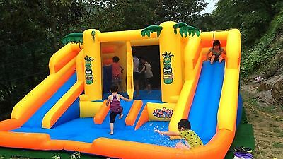 Commercial Double Water Slide Inflatable Bouncer Outdoor Bounce House Pool Park