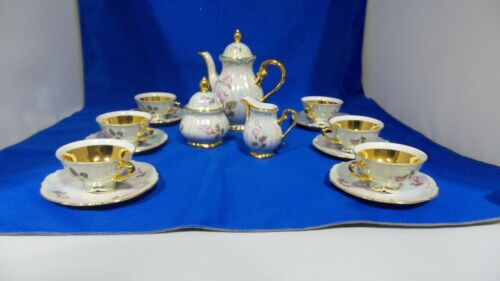VINTAGE BAVARIA GERMANY DEMITASSE TEA SET GOLD TRIM 6 PIECE SERVICE LOT OF 17