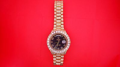 Rolex Day-Date II  18K Yellow Gold  218238 25 Carat Full Real Diamonds Best Deal