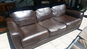 3 seater brown leather lounge free Wilberforce Hawkesbury Area Preview