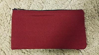 1 Brand New Heavy Dark Red Canvas Bank Deposit Money Bag Zippered