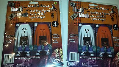 SET OF 2 LEAF BAG FIGURES GHOST & PUMPKIN HALLOWEEN FILL WITH LEAVES 4 Feet tall - Pumpkin With Leaves