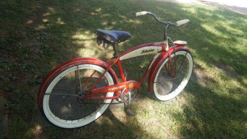 "Vintage 1955 Schwinn Hornet Bicycle 24"" Duro Balloon Boys Red Cruiser VG"