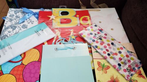 Birthday Gift Bags With Tissue Paper lot of 6 bags.