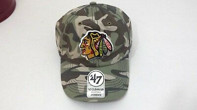 ('47 Brand NHL Chicago Blackhawks Women's Sparkle Camo Clean Up Hat Adjustable)