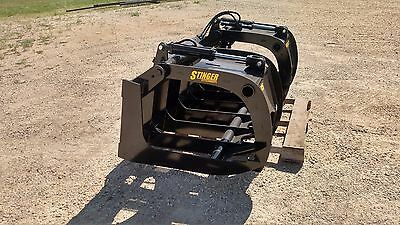 New 75 Brush Root Rake Grapple. Grade 50 Steel. Skid Steer Tractor Kubota