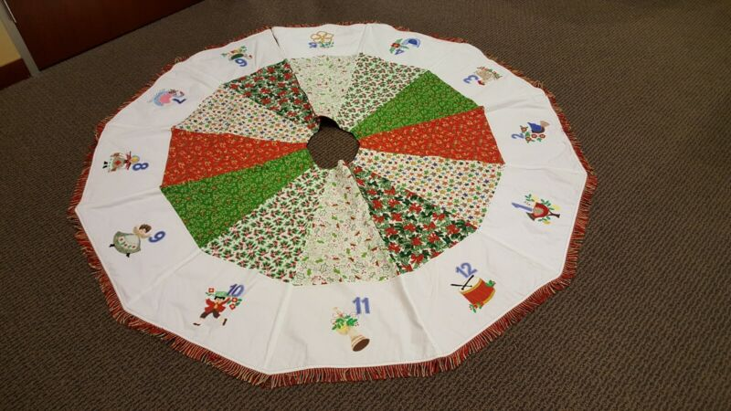 QUILTED 12 DAYS OF CHRISTMAS TREE SKIRT SUPERB RETRO QUALITY HANDMADE FREE SHIP