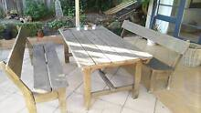 Outdoor Blackbutt Timber Table and Two Benches Northbridge Willoughby Area Preview