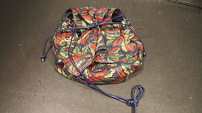 CARLOS FALCHI LEATHER SMALL PURSE BAG BLUE RED GOLD FLORAL PRINT BUTTERFLY -