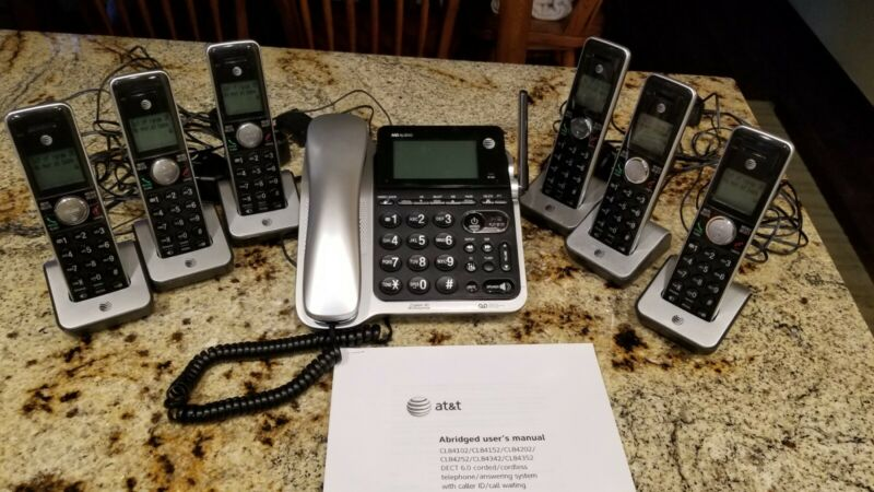 AT&T Corded Cordless DECT 6.0 Cordless Phone System with 6 Cordless Handsets