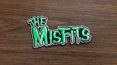 THE MISFITS,IRON ON GREEN WITH WHITE EDGE EMBROIDERED PATCH
