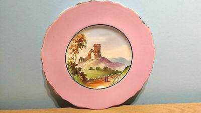 "Lovely Vintage 23.25cm Plate With Hand Painted Scene: ""Mow Cop Castle"".V.G.Cond."