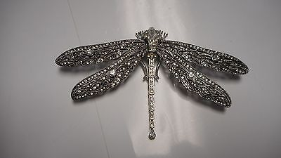 WOW beautiful dragonfly pin / brooch   silvertone WOW LOADED WITH CRYSTAL 4 3/4