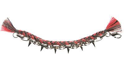 JOOMI LIM Punk Carnival Pink & Grey Braided Cotton Bracelet w/ Spikes NEW