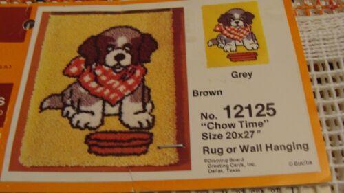 "Vintage Bucilla #12125 ""Chow Time"" Dog Latch Hook Rug Canvas - 20""x27"" - Unused"