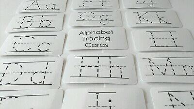 26 laminated Manuscript Alphabet hand held finger tracing flash cards for begin