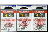 NEW 3 pack lot 18 total Owner Mosquito Hook Live Bait Drop Shot SZ 2//0