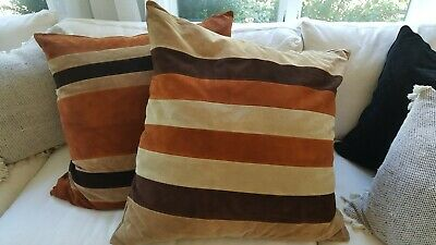 Vtg Mid Century Modern Suede Leather Pillow Covers - Large, Floor, Euro Size  Brown Striped Pillow