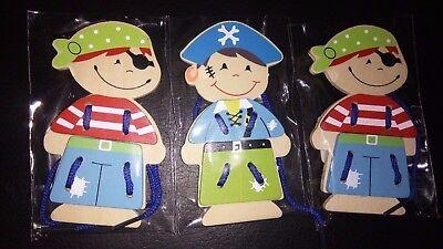 """3 Anziehpuppen zum Fädeln """"Pirat"""", Holz,  3 teilig, 12 cm, Schleife üben"""
