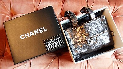 CHANEL pewter sequin and beaded handbag