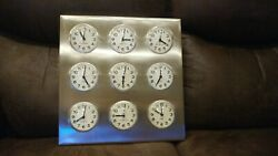 Stainless Steel Vintage World Time Stock Market Clocks EXCELLENT CONDITION.
