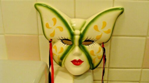 """Unique Vintage UCGC Taiwan Ceramic Butterfly Mask Wall Decoration 10"""" x 8"""""""