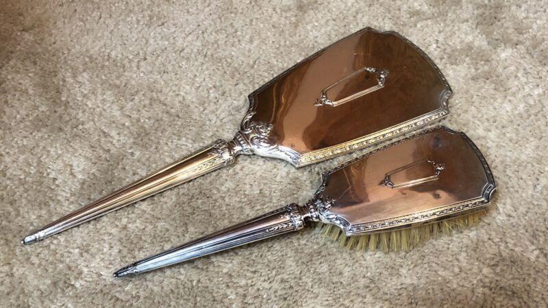 Antique Vintage Sterling S & B Hand Mirror & Natural Bristle Hair Brush