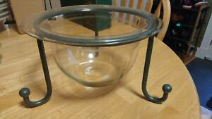 Glass Bowl & Metal Stand