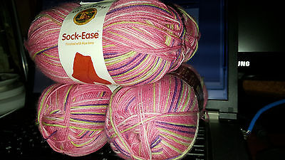 NEW LION BRAND SOCK-EASE Yarn 1 skein Cotton Candy 100g 75% wool