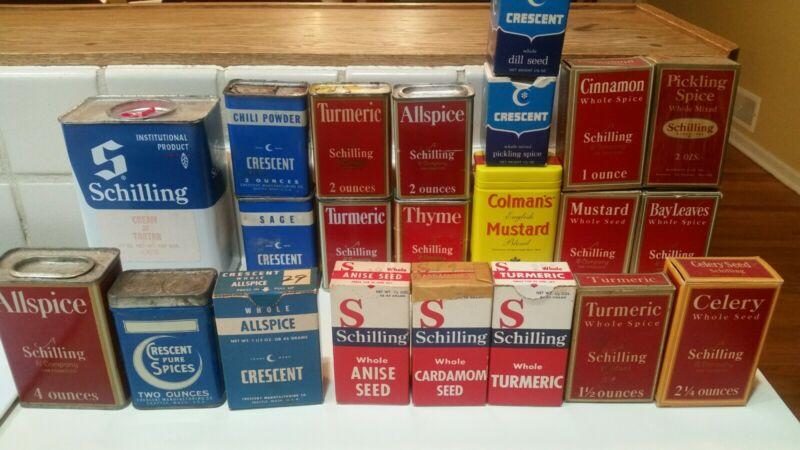Lot of 22 Vintage Spice Tins
