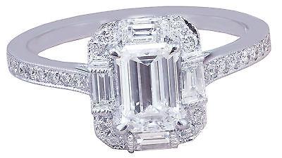 GIA G-VS2 14k White Gold Emerald Cut Diamond Engagement Ring Deco Halo 1.60ctw 10