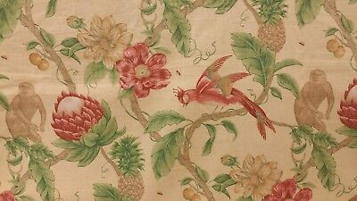 4 YDS COVINGTON FABRICS BEAUTIFUL JUNGLE GARDEN COTTON PRINT UPHOLSTERY FABRIC