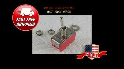 4pdt Mini Toggle Switch On-on 12pin Solder Lugs Mts-402 High Quality Ships Free